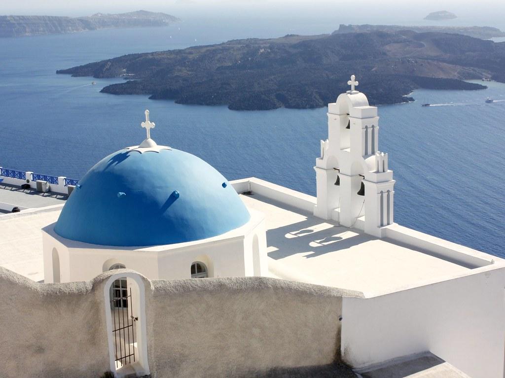 Hol szálljak meg Santorinin kek kupolas templom